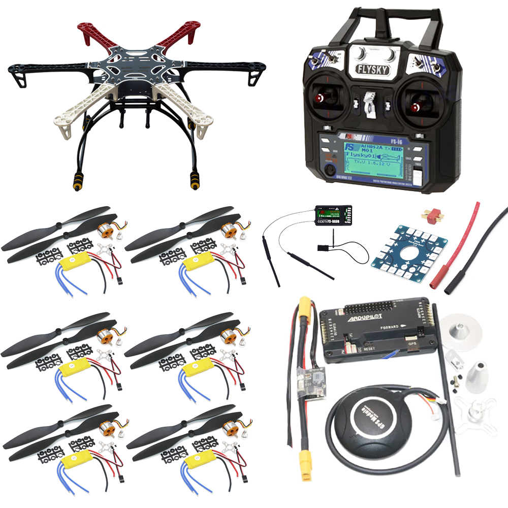 F550 Hexacopter Frame With Landing Gear kit w/ APM2.8 Flight control/7M GPS/A2212 1000KV 30A ESC/Flysky FS-i6 TX For Rc Drone