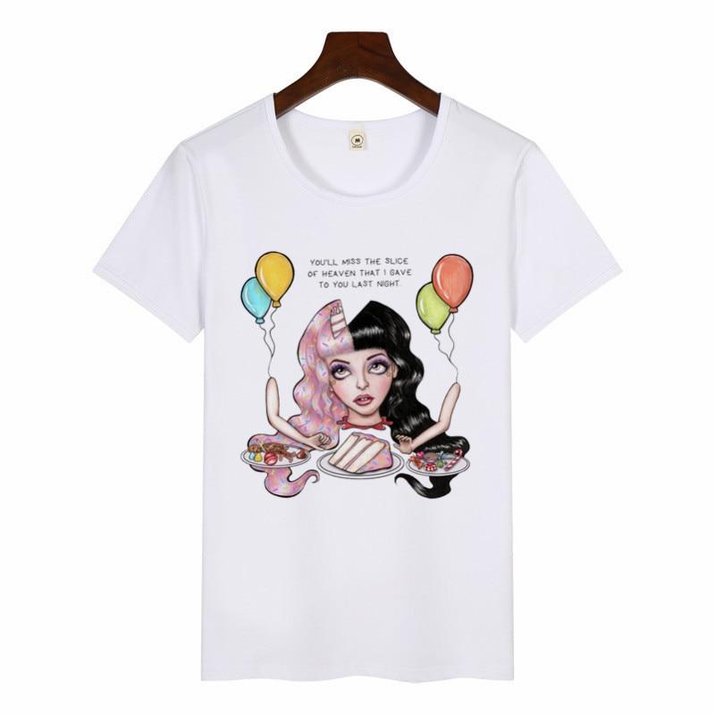 2019 Women Funny Art Print T-Shirt Harajuku Aesthetic Tshirts Female Melanie Martinez T-shirt Summer Graphic Tees Women Tops