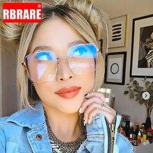 RBRARE-Gafas con montura metálica para mujer, lentes De gran tamaño con marco cuadrado, Anti luz azul