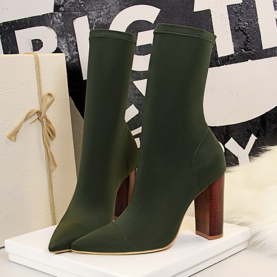 2019 Women Stretch Sock Chunky Boots Block 9.5cm High Heels Fetish Green Sexy Ankle Boots Stripper Slim Silk Satin Quality Shoes