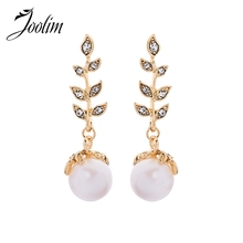 Joolim Luxury Glass Leaf Pearl Dangle Earring Drop Wholesale Customized Jewelry