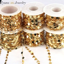 10 Meters, Gold Handmade Tone Circle Star Round Triangle Love Chain Necklace Making Jewelry Wholesale Lots Bulk