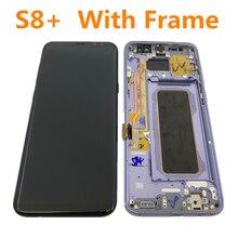 Amoled original com moldura para samsung galaxy s8 + plus g955a g955u g955f g955v display lcd montagem da tela de toque com pontos