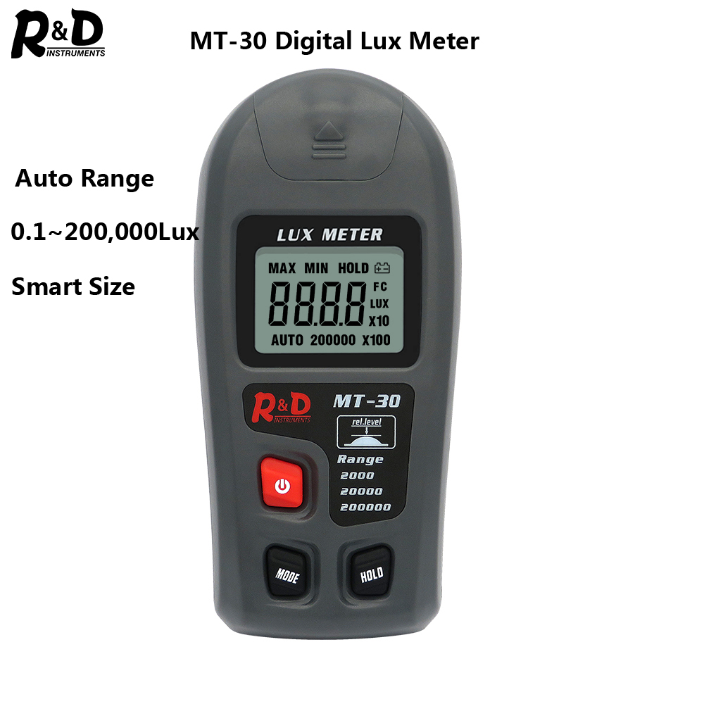 R&D MT30 Photometer Tester Enviromental Testing Lux Meter 0~200,000lux Range Light Meter Pocket Design Illuminometer Lux/fc