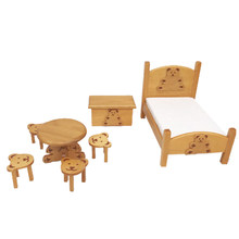 1/12 Scale DIY Miniature Dollhouse Pocket Bedroom Furniture Set With Bear Bed Table Stool Box Diy Dolls Houses Accessories(China)