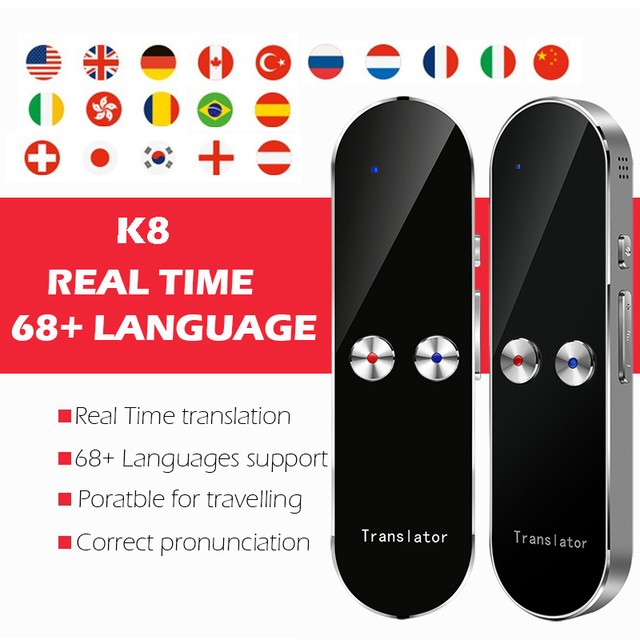 Smart Portable Instant Voice Translator Support 68 Countries Language Three way Translation Multi Language Translator Voice