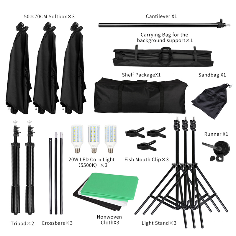 Lighting Kit Photography Studio Softbox and 6.6ftx6.6ft Background Support System Including 3pcs Backdrops(Black/White/Green) 2