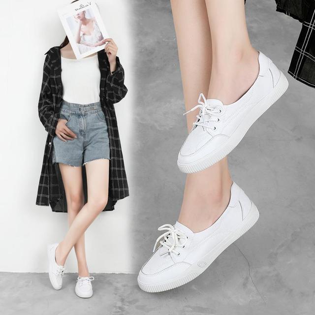 ผู้หญิงรองเท้าสบายๆสบายสบายสีขาว Nude รองเท้าผ้าใบแฟชั่น Lace Up แยกหนัง Casual รองเท้า