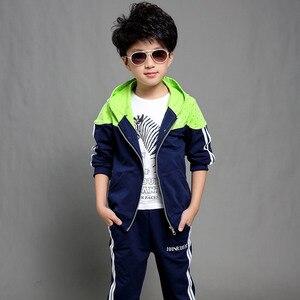 Image 2 - 男の子春秋ジョギングジャージ男の赤ちゃんフード付きジャケット + パンツスポーツスーツ子供服セット 120 〜 160