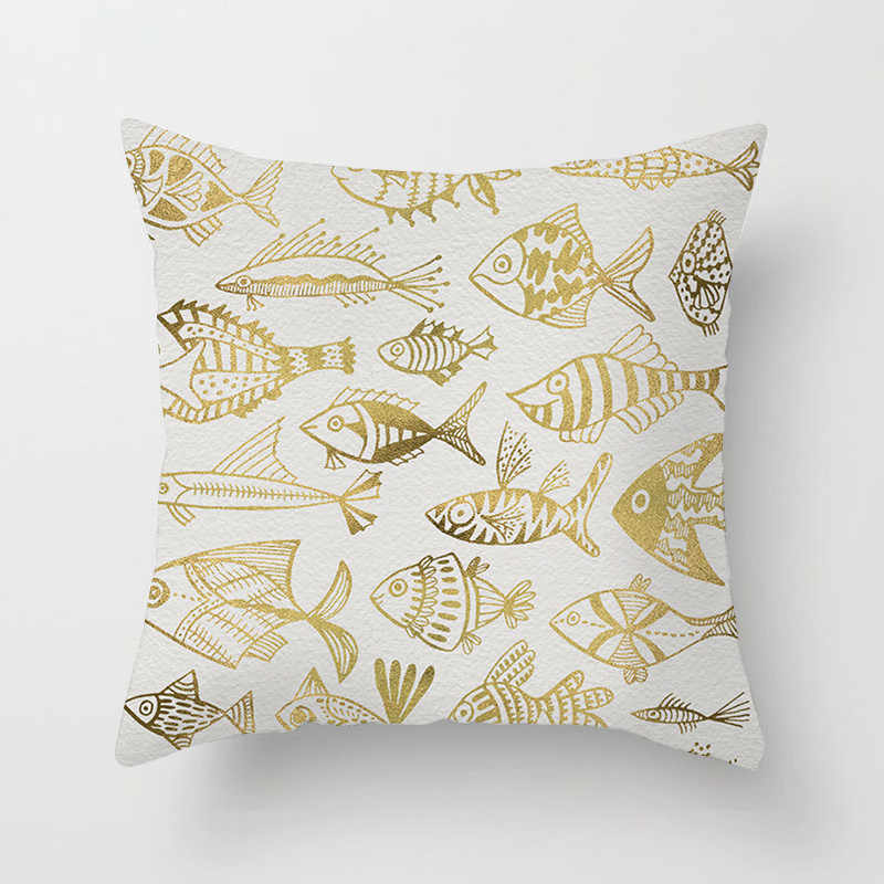 Fuwatacchi เรขาคณิต Golden Cushion COVER Leaf สับปะรดปลาโยนหมอนโซฟานุ่มโยนปลอกหมอน 2019
