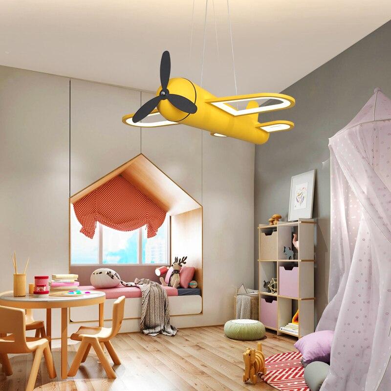Modern Led Pendant Lamp Child Bedroom Home Kids Baby Boys Airplane