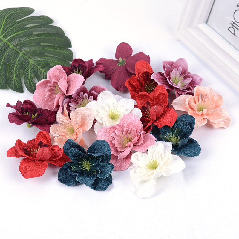 10 sztuk/partia nowy sztuczny kwiat plastikowe orchidea kwiat głowy wieniec fałszywe rośliny wesele dekoracji domu DIY prezent rzemiosła