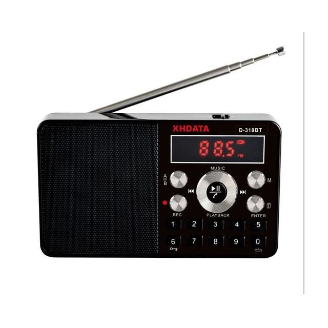 XHDATA D 318 BT FM ستيريو راديو صغير متعدد الوظائف راديو محمول استقبال دعم المكالمات الهاتفية اللاسلكية A B راديو بلوتوث