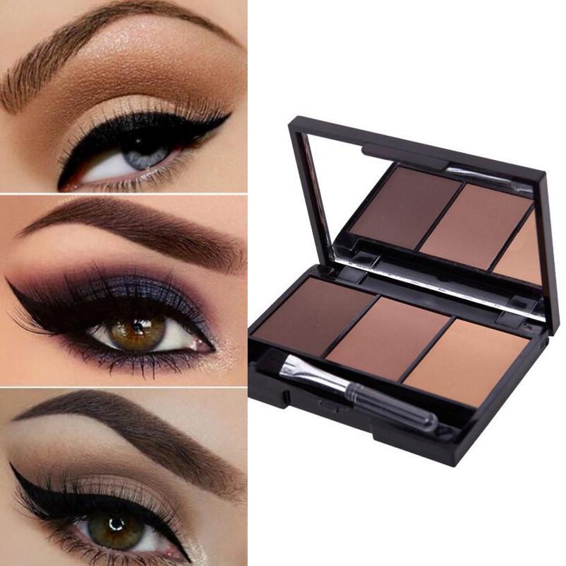 3 Colors Eyebrow Powder Shadow Palette Long Lasting Eyebrows Enhancer Cosmetic Brush Mirror Box Makeup Tools Set