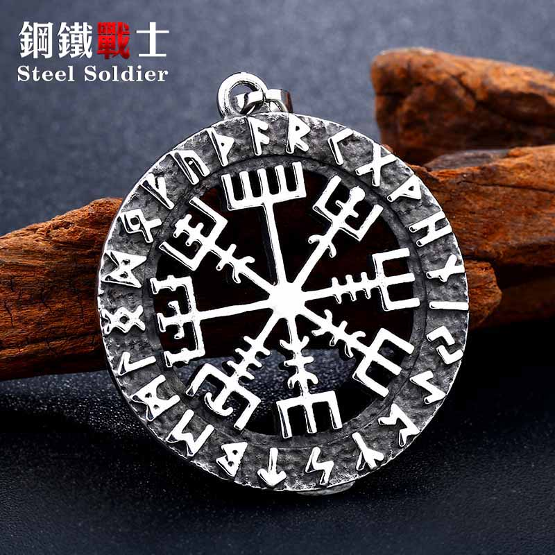 steel soldier huge nordic vking rune necklace pendant men stainless steel charm religion culture jewelry image