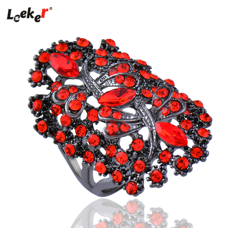 LEEKER Women Vintage Hollow Dragonfly Rings With Shiny Red Cubic Zirconia Female Sexy Ring Black Color Animal Jewelry 565 LK10