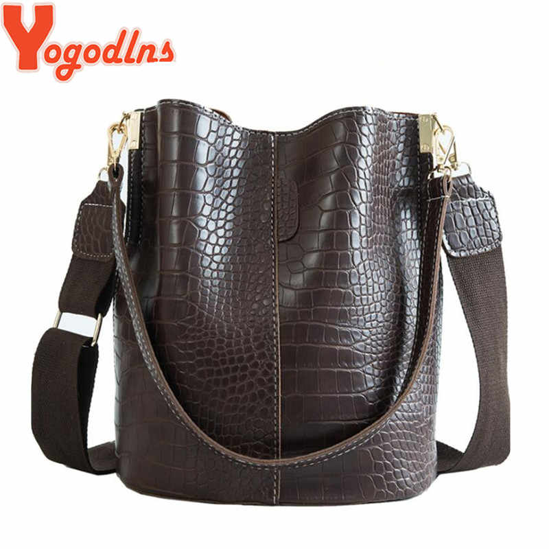 Yogodlns Crocodile Pattern Handbag for Women Pu Leather Shoulder Messenger Bags Large Size Bucket Bags Retro Wide Strap Shoulder