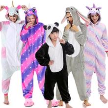 Chłopiec dziewczyna piżama jednorożec zima kobiety piżamy Cartoon zwierząt Panda Onesie Kigurumi piżamy dzieci z kapturem dziecko piżamy kombinezon tanie tanio sumioon Poliester unicorn pajamas Unisex Pasuje prawda na wymiar weź swój normalny rozmiar Flanelowe pijama unicornio