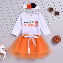 Cute Baby Clothes Kid Girl Halloween Romper Tops +TuTu Dress+Hairband Outfits Set