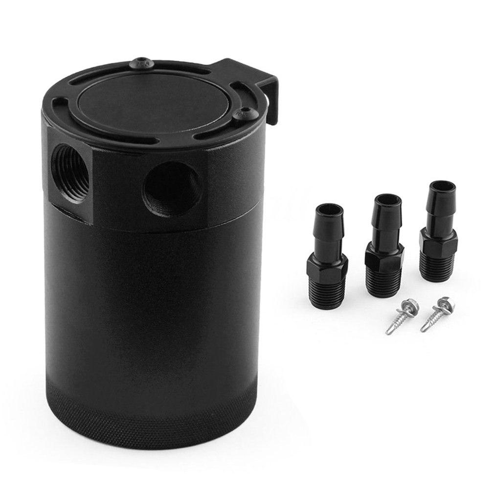 High Performance Black Aluminum Alloy Universal RACING BAFFLED 3-PORT Oil Catch Can Tank For Universal Vehicles