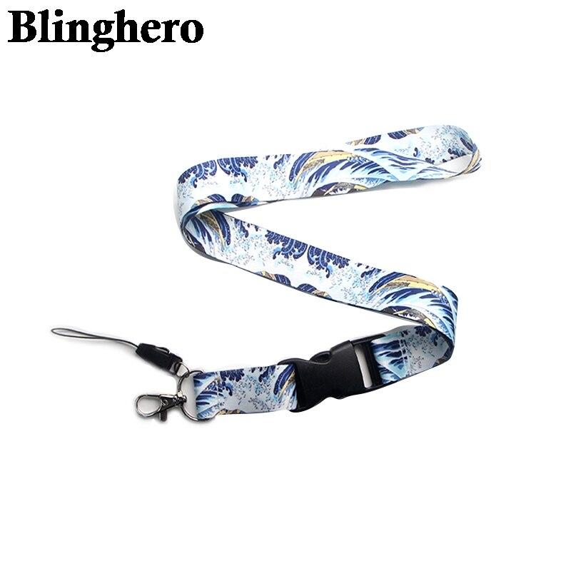 CA746 Kanagawa Surfing Art Lanyard Neck Strap For Key ID Card Cell Phone Straps Badge Holder DIY Hanging Rope