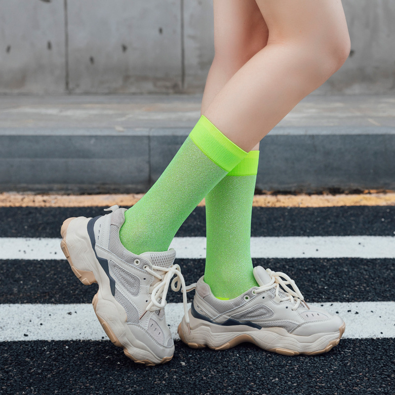 10 Colors Harajuku Style Hip Hop Street Cool Girls Socks Women Men Fashion Bright Neon Socks Fluorescent Candy Color Unisex Sock