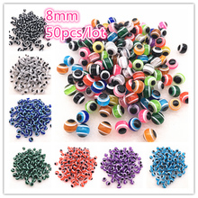 50pcs/lot  8mm Charms Beads Round Evil Eye Resin Stripe Spacer for Jewelry Making DIY Bracelet