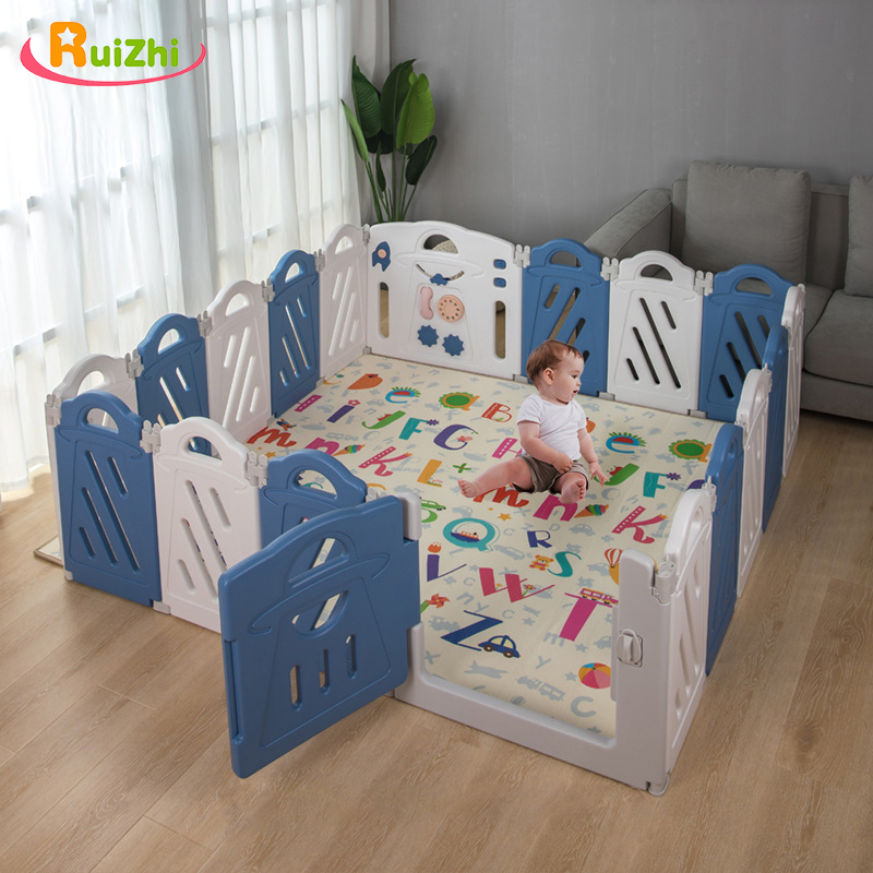 Ruizhi 18Pcs Baby Safety Plastic Fence Children's Playpen Newborn Indoor Playground Game Ocean Ball Pool With Toy Wall RZ1233