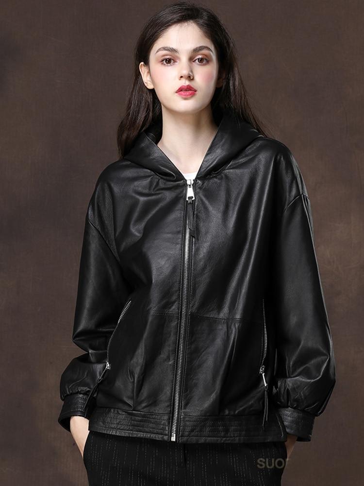 Nerazzurri Black oversized leather jacket women with hood drop shoulder long sleeve zipper Spring light soft faux leather coat