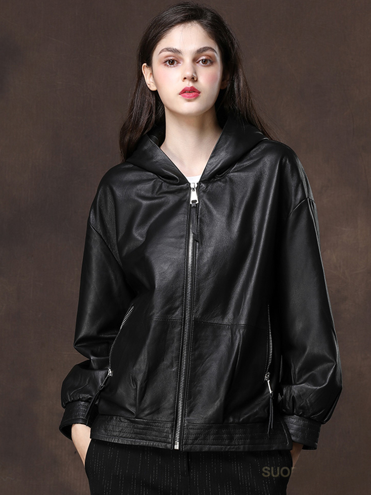 Nerazzurri Black Oversized Leather Jacket Women With Hood Long Sleeve Drop Shoulder Zipper Plus Size Spring Faux Leather Coat