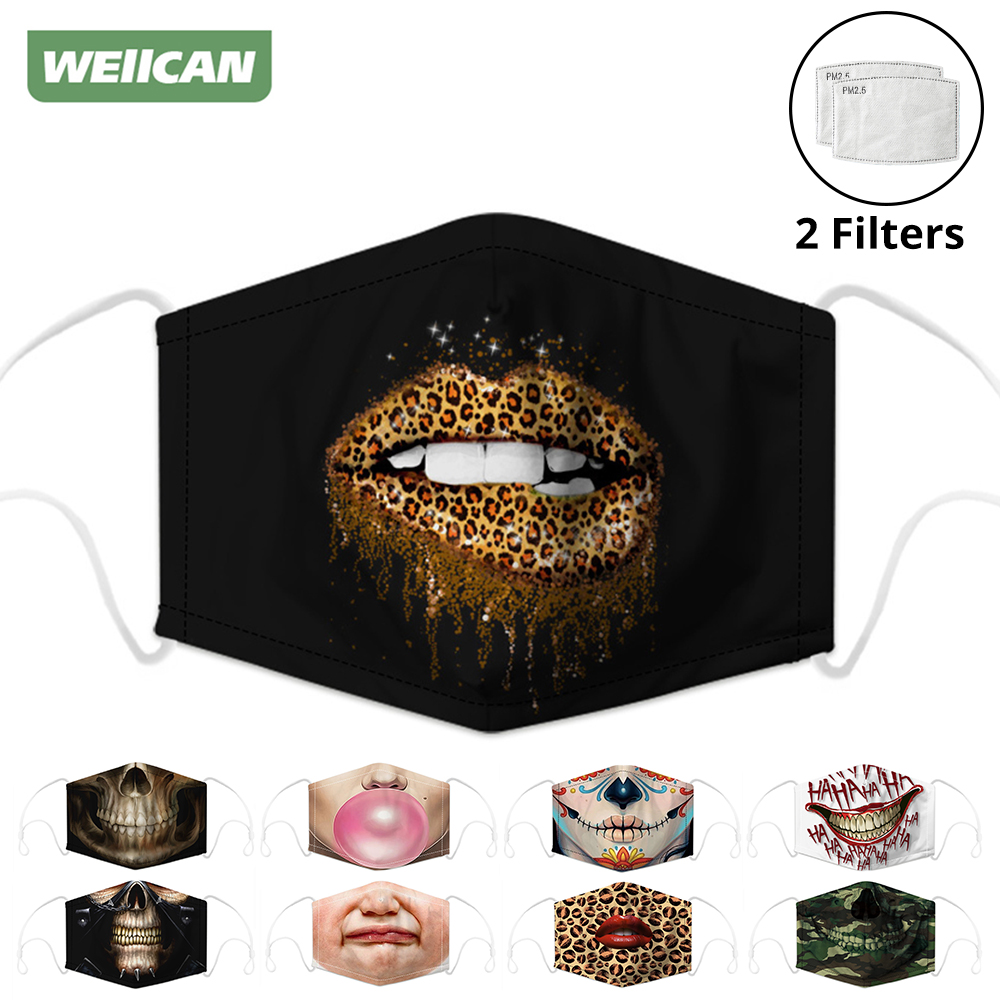 Respirator Face Masks Mouth Caps Activated Carbon Filter Digital Printing Dust Protection Mask Reusable Face Shield Men Women