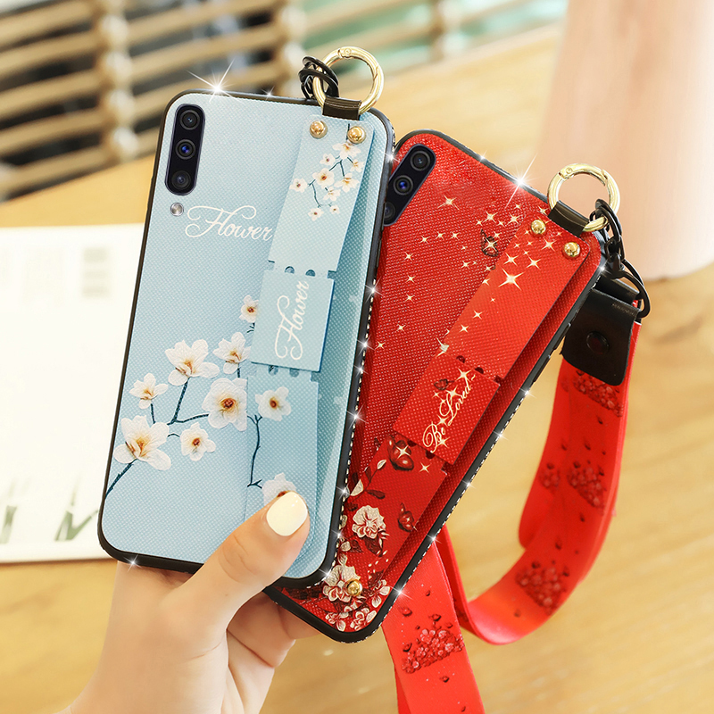 Portable floral hanging neck strap 3D stand <font><b>holder</b></font> <font><b>phone</b></font> <font><b>case</b></font> on for <font><b>Samsung</b></font> Galaxy <font><b>S9</b></font> Plus S9plus S Note 9 note9 soft TPU coque image