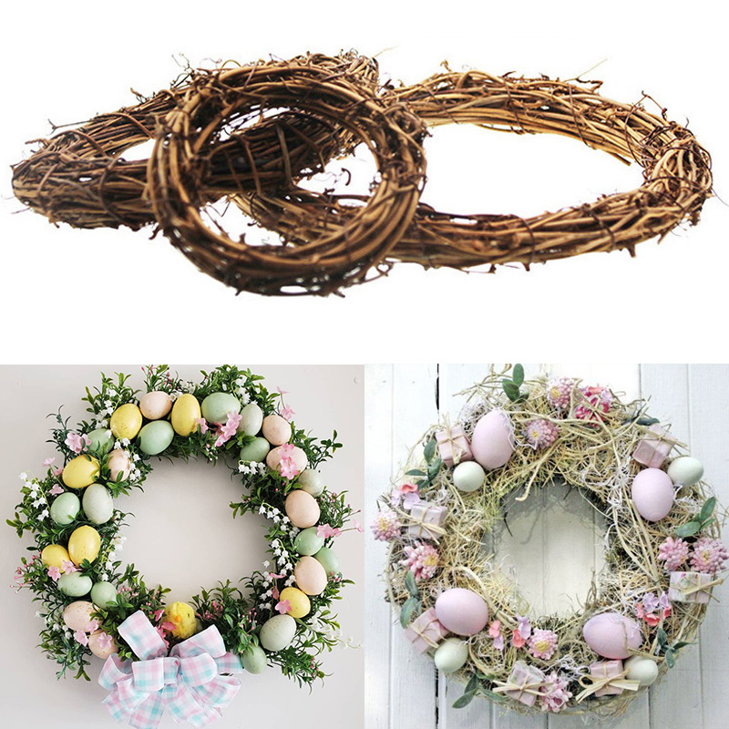 Easter Decoration Ornament Decor Rattan Wreath Garland Door Hanging Decor Easter Eggs For Home Happy Easter Decorations Supplies