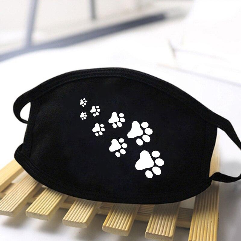 Cat Paws Print Cartoon Lovely Black Unisex Masks Keep Warm Black Cute Mask Festive Party Respirator Dust Mouth Muffle Mask