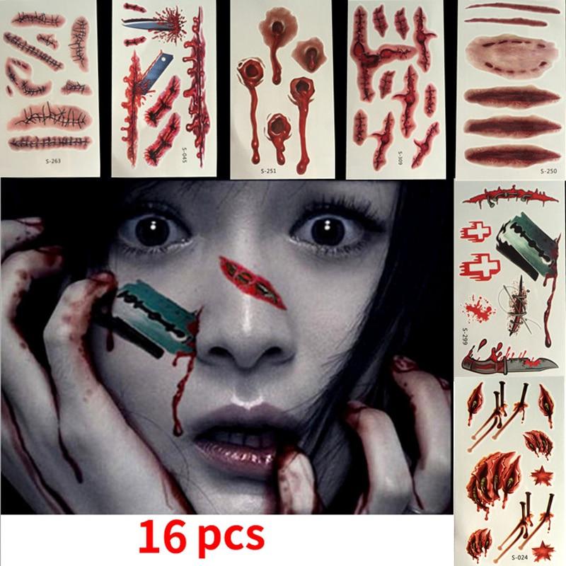 Zombie Makeup, Halloween Makeup, Scar Tattoo, Halloween Tattoo Fake Blood Makeup , Enjoy Halloween Makeup Kit Zombie Tattoo, 16