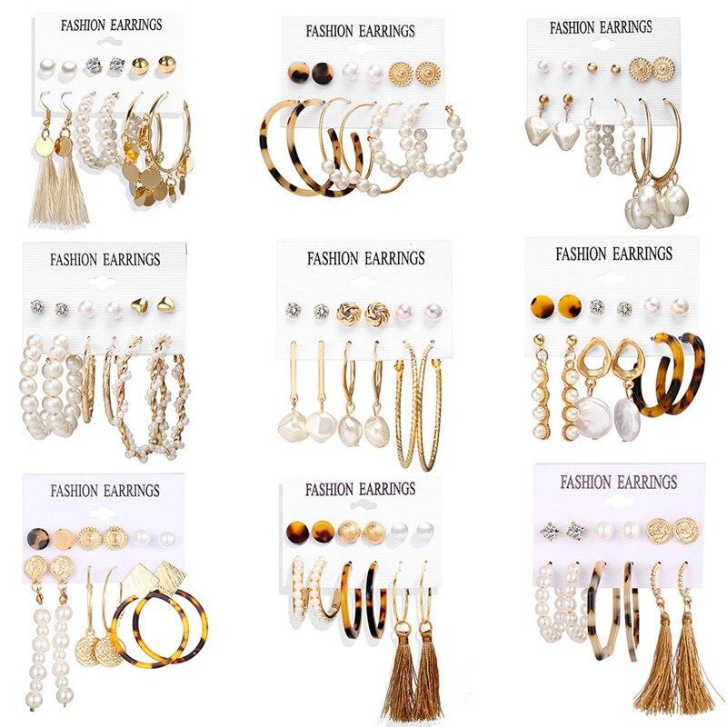 WUKALO Vintage Big Gold Circle Hoop Earrings For Women Clip on Earrings Eye Pearl Heart Earring Set  Brincos Statement Jewelry