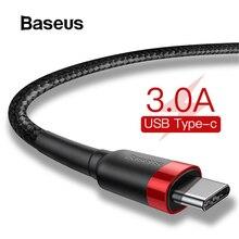 Baseus usb type-C кабель для samsung S10 S9 Quick Charge 3,0 кабель USB C Быстрая зарядка для huawei P30 Xiaomi USB-C провод зарядного устройства