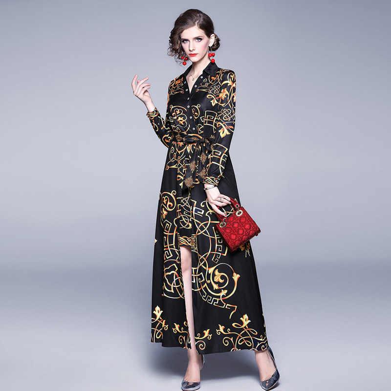 Золотое дизайнерское платье для подиума с принтом в стиле Корта, Осень-зима 2019, женское платье с длинным рукавом и v-образным вырезом размера плюс, винтажное платье Макси