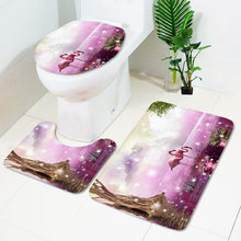 Esteira antiderrapante do banheiro da série do teste padrão do flamingo de 3 pces, tapete absorvente, coxim do assento do toalete pode ser personalizado