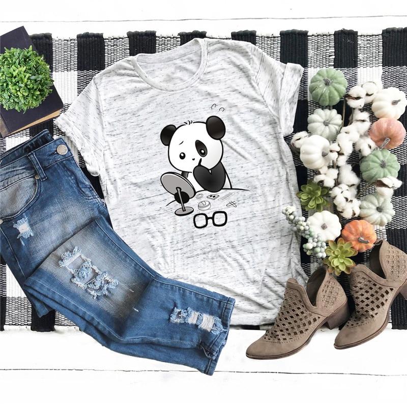 Plus Size S-5XL Lovely Panda Print T Shirt Women Shirts 100%Cotton O Neck Short Sleeve Tees Summer T-Shirt Pink Top TShirt Women