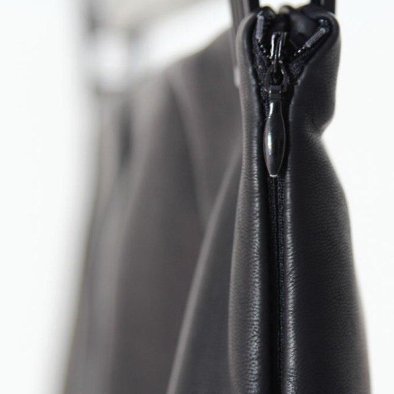 Pu leather γυναικεία φούστα σέξι κομψή μαύρη midi φούστα msow