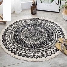Alfombra redonda de Mandala de algodón étnico Vintage para sala de estar, alfombras redondas modernas, Alfombra de cocina antideslizante