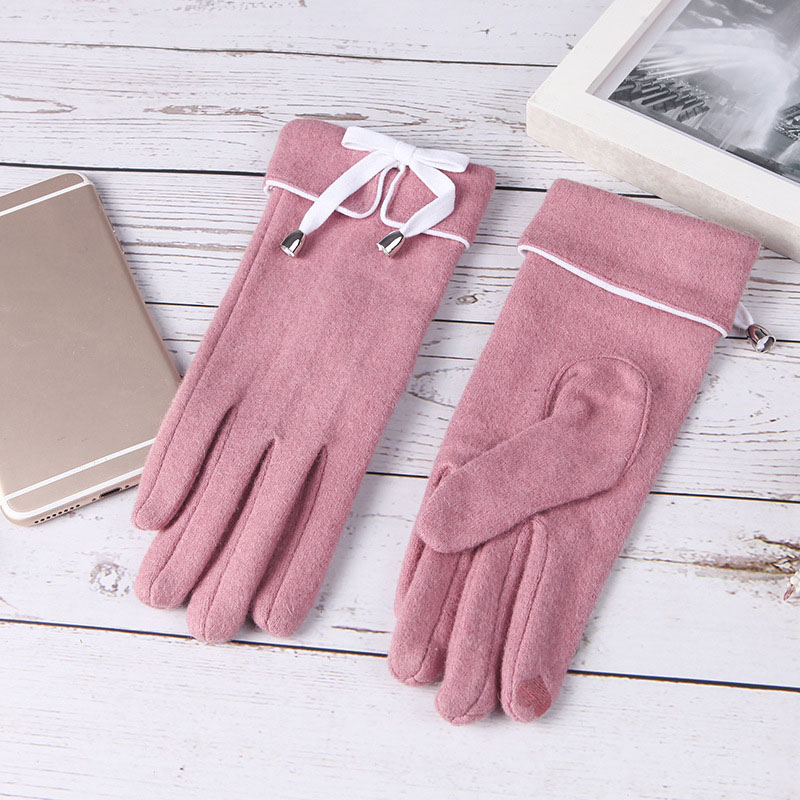 2019 New Autumn And Winter Fashion All Refers To Warm Gloves Female Cashmere Solid Color Bow Touch Screen Gloves