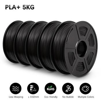 SUNLU PLA PLUS Filament 5KG drukarka 3D Filamen PLA + 1KG rolka 1 75MM Filament 3D materiał do drukowania 5 rolek zestaw ze szpulą tanie i dobre opinie CN (pochodzenie) solid PLA+ SUNLU PLA+ Filament 190-220℃ + -0 02MM 1 KG RoHS Reach No Bubble Vacuum packing with box