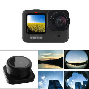 Dla GoPro Hero 9 czarny obiektyw typu rybie oko akcesoria do kamer szeroki kąt Vlog strzelanie obiektyw do kamer Gopro 9 filtr tanie i dobre opinie BRDRC Fisheye Lens for GoPro Hero 9 CN (pochodzenie) Aluminium