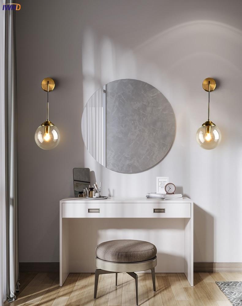 Nordic Modern Wall Lamp Beside Bedroom Glass Ball LED Wall Lights Fixtures Wandlamp Lighting Bathroom Mirror Stair Light (4)