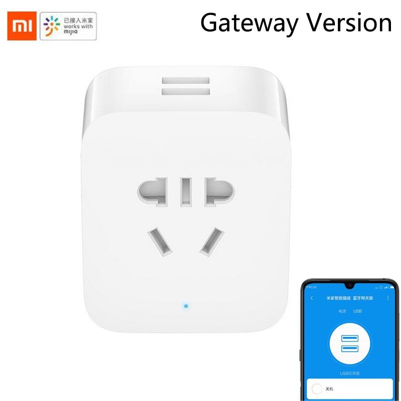 Novo xiaomi mijia inteligente soquete bluetooth gateway edição dupla usb inteligente wi fi tomada adaptador de energia mijia dispositivo casa inteligente