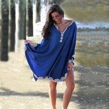 فستان طويل من القطن للشاطئ ملابس الشاطئ للنساء من Pareo de Plage ملابس السباحة التستر على الشاطئ ملابس السباحة قفطان الشاطئ # Q668