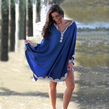 Vestido largo playero de algodón para mujer, Pareo de playa, caftán playero