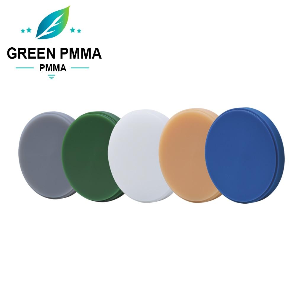 o material dental do poliuretano 98mm cad cam que fresa o branco claro de pmma e